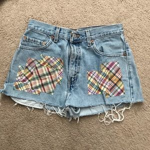 Levi patched jean shorts